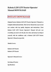 Kubota L235 L275 Tractor Operator Manual Download By Sg