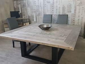 Table De Salle A Manger Industriel : table de salle manger industriel pied centrale en acier ~ Teatrodelosmanantiales.com Idées de Décoration