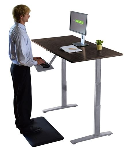 desktop standing desk bamboo electric powered standing office desk