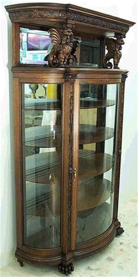 Pulaski Curio Cabinet 21131 by Antique Curio Cabinets Quarter Sawn Oak Curved Glass