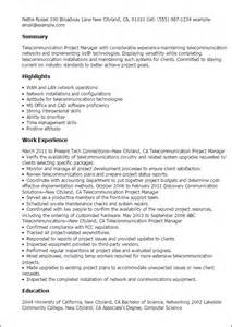 resume of a telecom project manager professional telecommunication project manager templates to showcase your talent myperfectresume
