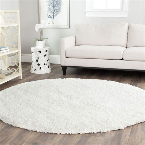 White Area Rug by Power Loomed Solid White Shag Area Rug 6 7 Ebay