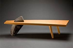 gibralter bench wood bench coffee table seth rolland With wood and stone coffee table