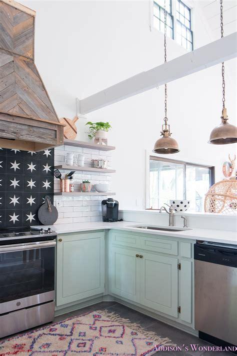 full reveal   white cabin kitchen  light mint