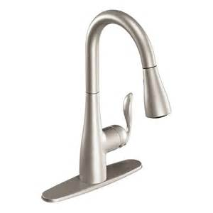moen pull kitchen faucet shop moen arbor stainless 1 handle pull kitchen faucet at lowes com