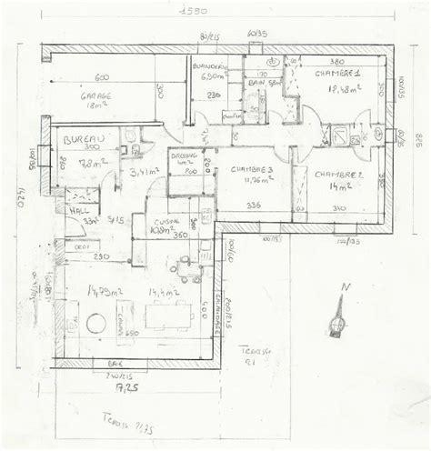plan maison plain pied 3 chambres 1 bureau cool m plain pied en l ch cuisine ouverte messages