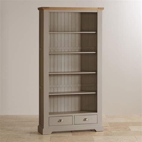 Painted Bookcase by Oak And Light Grey Painted Bookcase