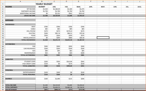 budgeting spreadsheet template db excelcom