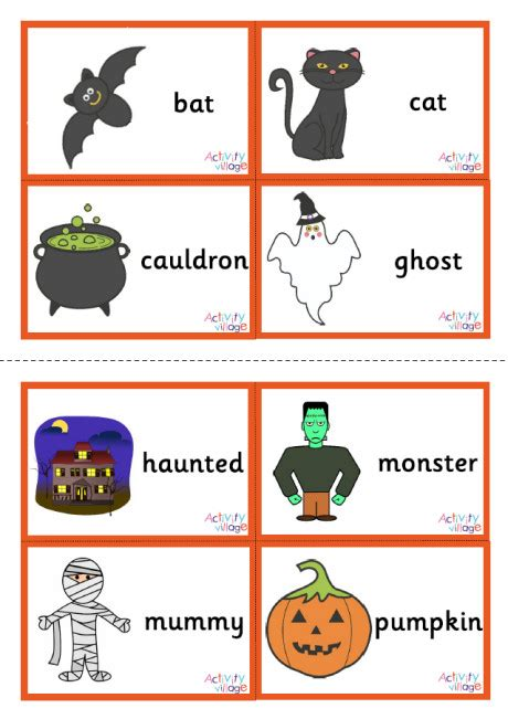 Free Fall Words With Pictures Flash Card Printables Halloween