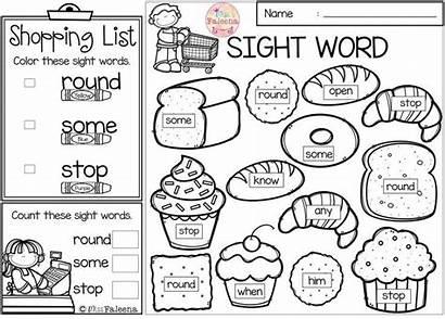 Kindergarten Word Sight Coloring Worksheets Sheets Words
