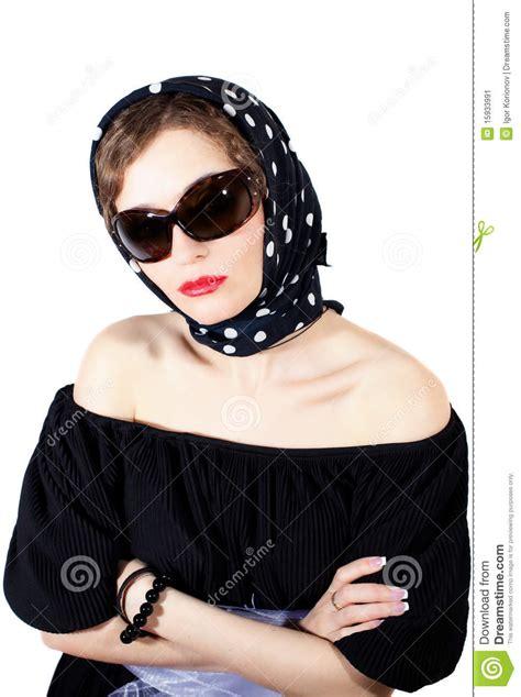 stylish woman wearing headscarf  sunglasses stock image