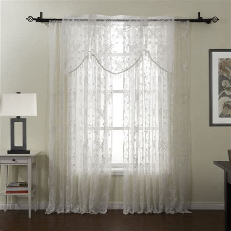white floral pattern sheer curtains of embroidery style