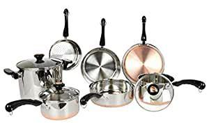 amazoncom revere  piece copper bottom cookware set