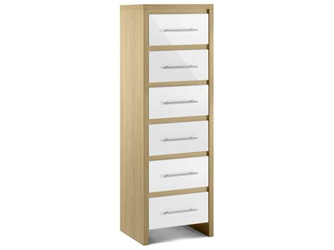 Oak & High Gloss White Bedroom Tall Narrow Chest Of 6 Drawers Bone Inlay Chest Of Drawers India Drawer Shelf Solutions Design Bed With Jewelry Storage Kitchen Island Side Mount Slides Lowes Cedar Value Dividers