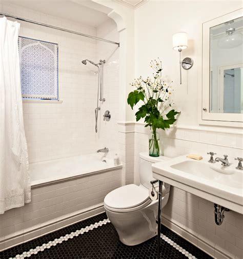 Black And White Hexagon Tile Bathroom Black Hex Tiles Transitional Bathroom