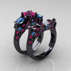 black and gold wedding band designer classic 14k black gold three princess pink sapphire blue topaz engagement ring
