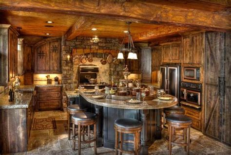 Log Cabin Kitchen Island Ideas by Amazing Kitchens Design With Rustic Elements Home Design