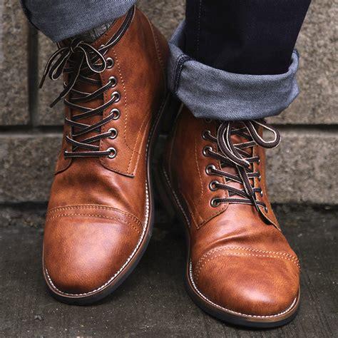 Cosidram High Quality British Men Boots Autumn Winter