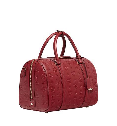 mcm essential boston bag  monogram leather  red lyst
