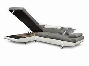 Canape Angle Simili : canap d 39 angle en simili cuir et tissu gauche blanc gris ~ Teatrodelosmanantiales.com Idées de Décoration