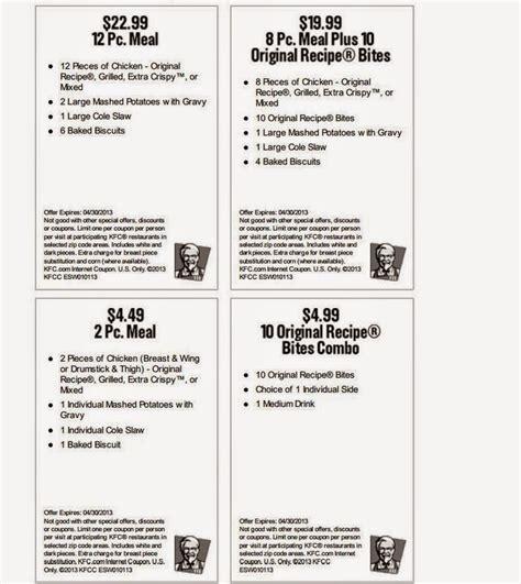 kfc discount coupons kfc coupons