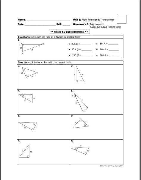 In unit circle trigonometry , a right triangle is in standard. Homework Answer Key Unit 8 Right Triangles And Trigonometry - Honors Geometry Chapter 8 Right ...