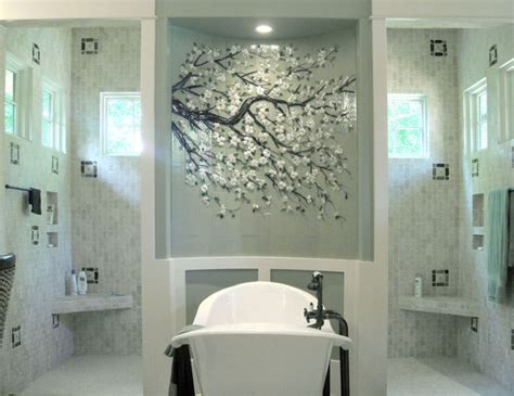 fused glass cherry blossom mural on barrel wall