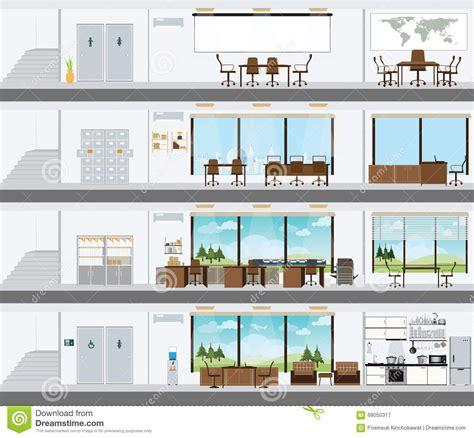 le de bureaux immeuble de bureaux coupé avec le plan de développement