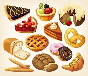 Delicious dessert pastries vector material cartoon ...