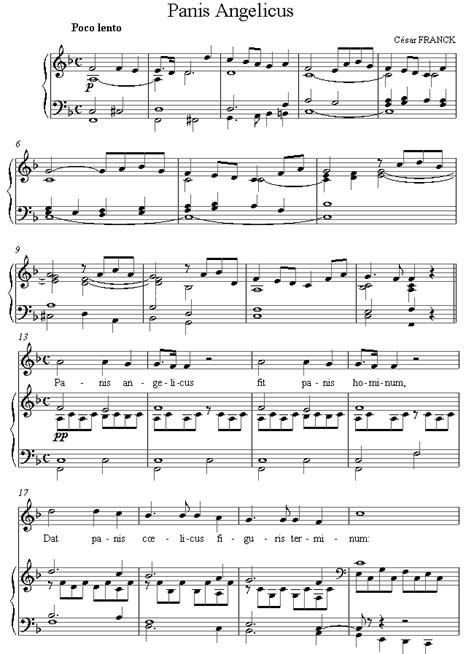 Testo Panis Angelicus by Franck Panis Angelicus Sheet For Voice 8notes