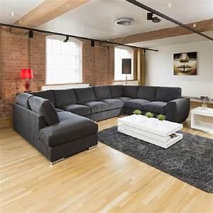 extra large sofa set settee corner group u l shape black With large u shaped sectional sofa uk