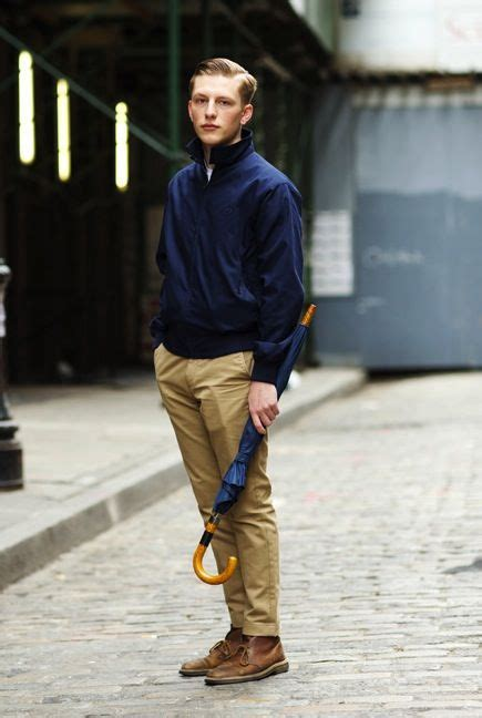Navy windbreaker tan chinos and brown boots - perfect for drizzly autumn weather   Menu0026#39;s Fall ...