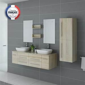 Meuble Vasque Double : meuble double vasque pour salle de bain en bois scandinave meuble 2 vasques dis748 ~ Teatrodelosmanantiales.com Idées de Décoration