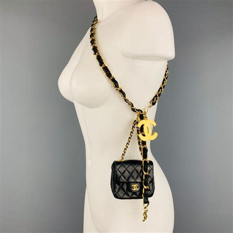 chanel vintage gold tone black leather woven chain mini purse pouch belt  stdibs