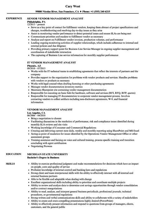 vendor management analyst resume samples velvet jobs