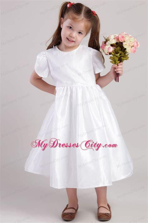 tea length flower girl dress  scoop  short