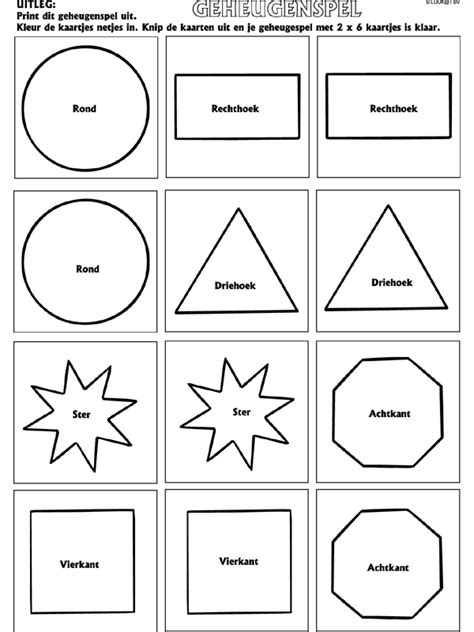 Vierkant Kleurplaat by Vormen Geheugenspel Knutselpagina Nl Knutselen