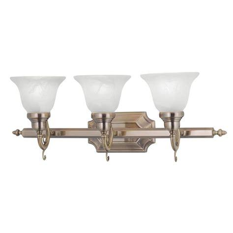 livex lighting  light antique brass bath light  white