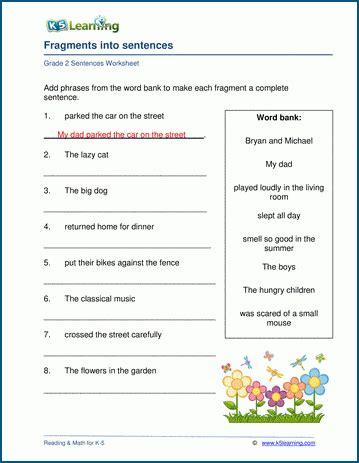 turn fragments  full sentences worksheets  learning
