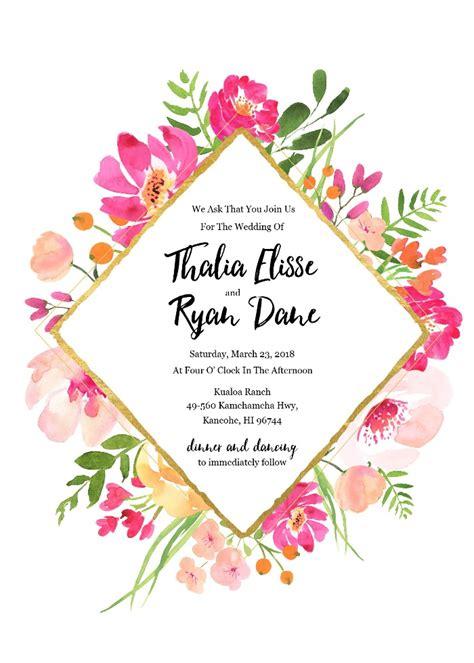 Print Gold Floral Free Editable Wedding Invitation