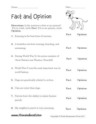 fact and opinion worksheet fact vs opinion