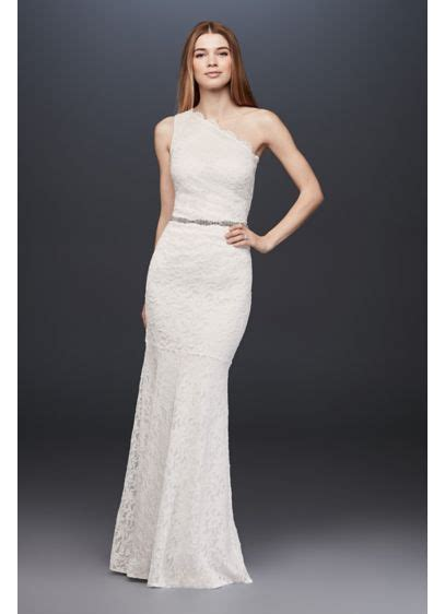 scalloped  shoulder lace sheath gown davids bridal