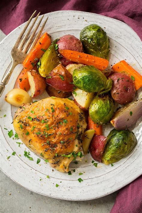 Sheet Pan Roasted Chicken With Root Vegetables Cooking