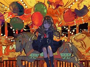 Desktop, Wallpaper, Ferris, Wheel, Anime, Girl, Balloons, Art, Hd, Image, Picture, Background, 23c1c0