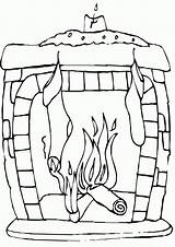 Fireplace Coloring Pages Fireplace4 sketch template