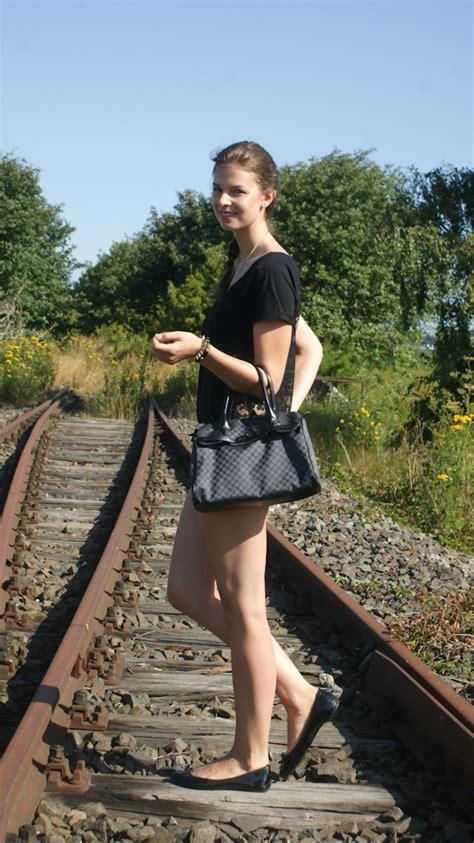 baltic sea day  railroad tracks