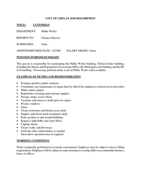 Custodian Description Resume by Best Photos Of Sle Janitor Resume Skills Entry Level