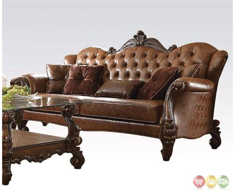 Leather Tufted Loveseat by Versailles Formal Button Tufted Sofa In Light Brown Leather
