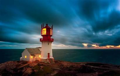 Lighthouse Norway Skagerrak Strait Lindesnes Dark Clouds