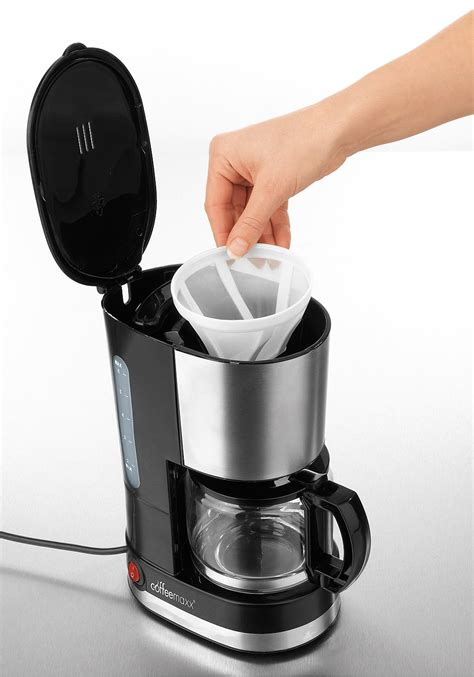 coffee maxx single kaffeemaschine schwarz edelstahl
